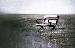 einsame Bank in schwarz weiß