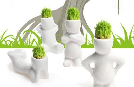 grasmänner aus keramik deko